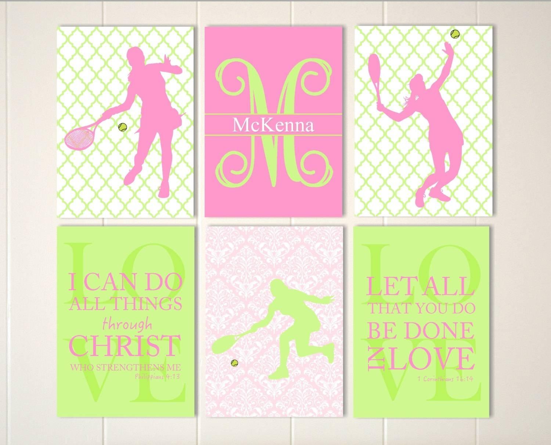 Tennis Wall Art Christian Girls Art Tennis Girl Wall Art With Recent Wall Art For Girls (View 3 of 20)