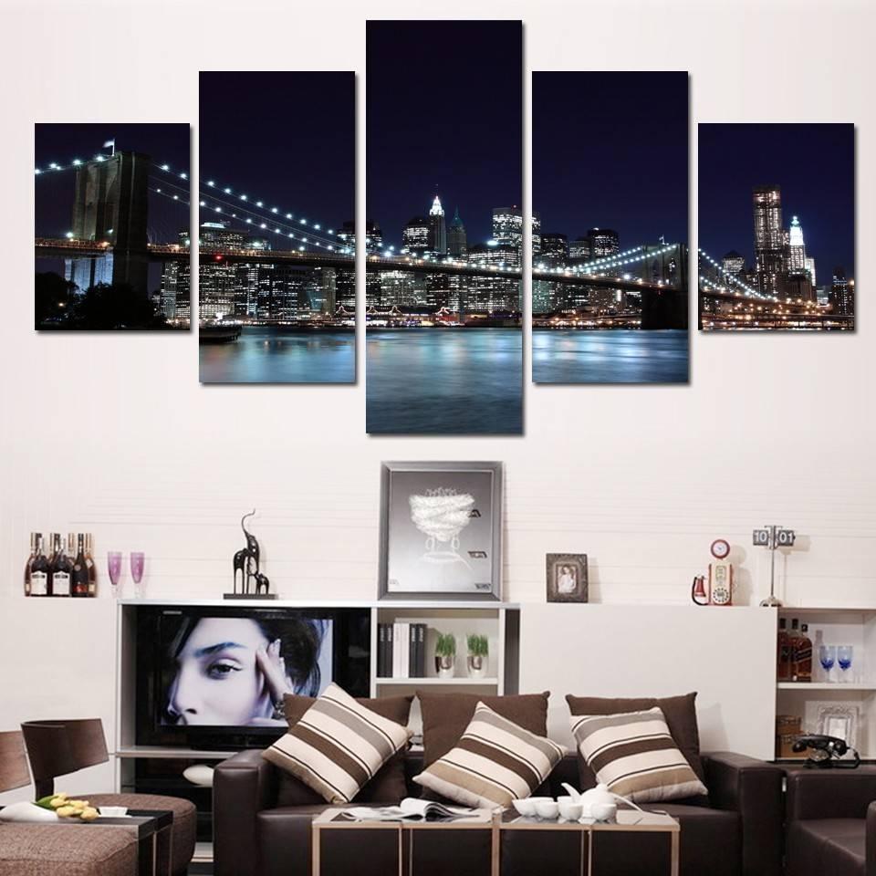 Terrific Brooklyn Bridge Wall Art Pcs Hd Printed Brooklyn Brooklyn Throughout Latest Brooklyn Bridge Metal Wall Art (View 4 of 25)