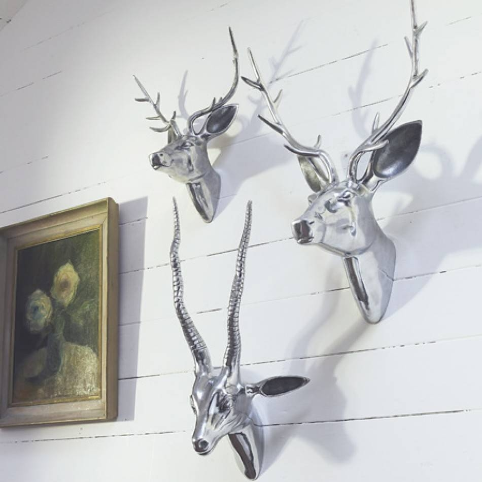 Terrific Chrome Wall Decor Industrial Metal Furniture Large Chrome Pertaining To Most Current Stags Head Wall Art (View 23 of 25)
