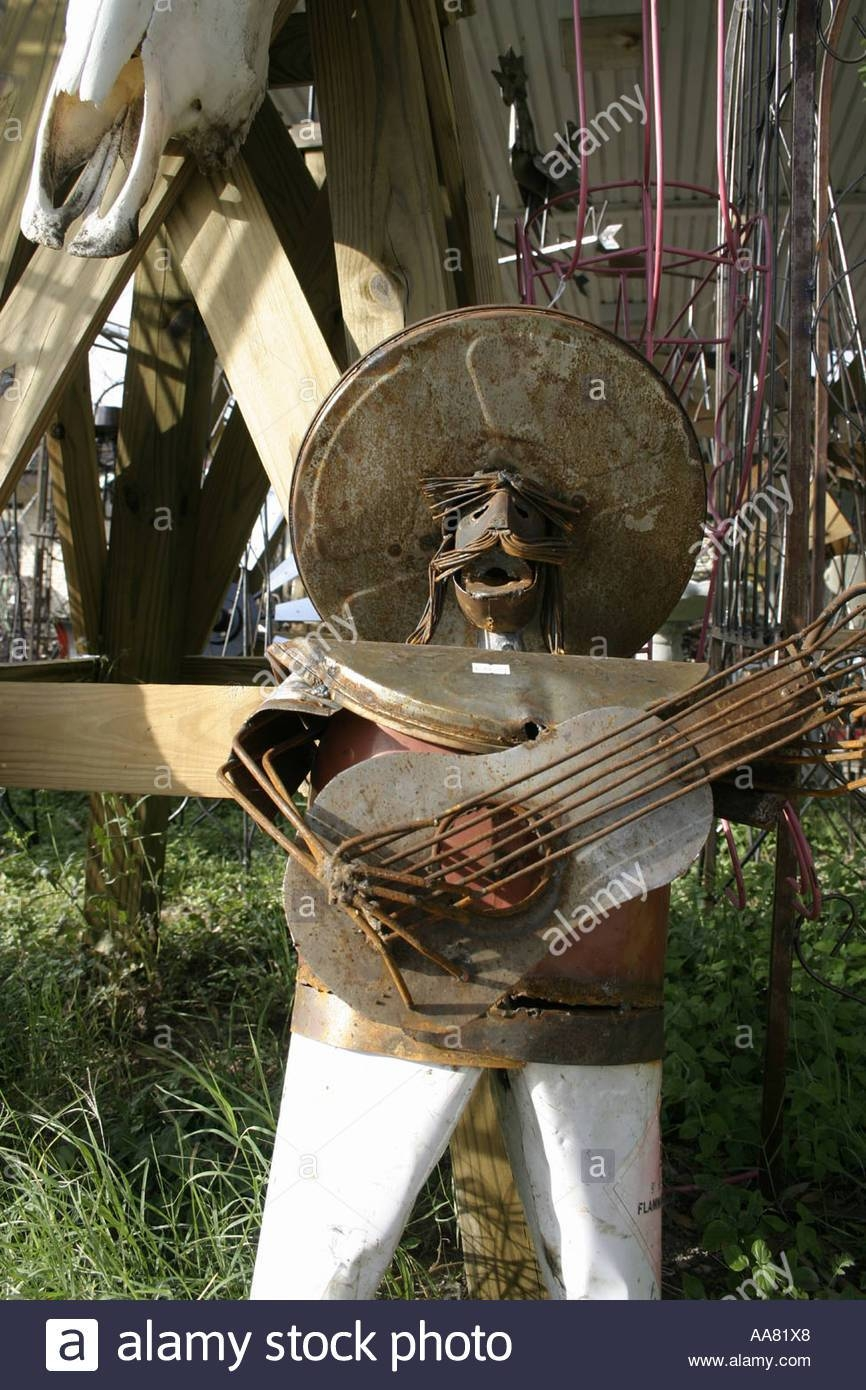 Texas/mexican Metal Art – Mariachi Man Made From Scrap Metal Stock In Most Popular Mexican Metal Art (View 23 of 30)