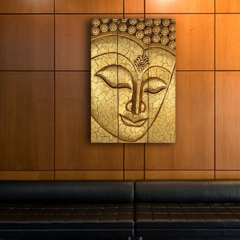 Thai Buddha Face Statue Large Hand Carved Wooden Wood Wall Art Throughout Most Up To Date Buddha Wood Wall Art (View 15 of 20)