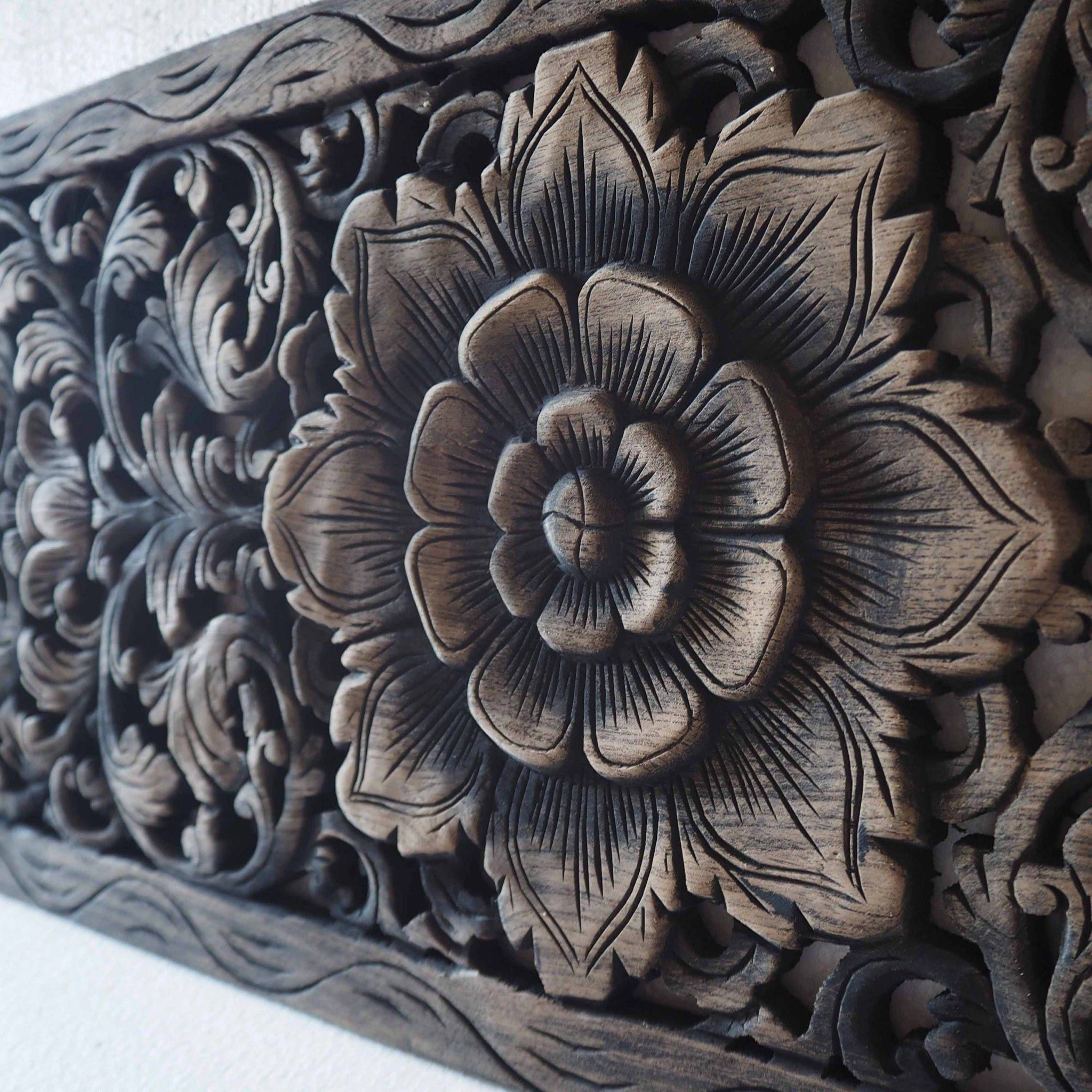 Thai Lotus Wood Carving Wall Art Panel – Siam Sawadee Pertaining To Most Recent Asian Wall Art Panels (View 12 of 20)