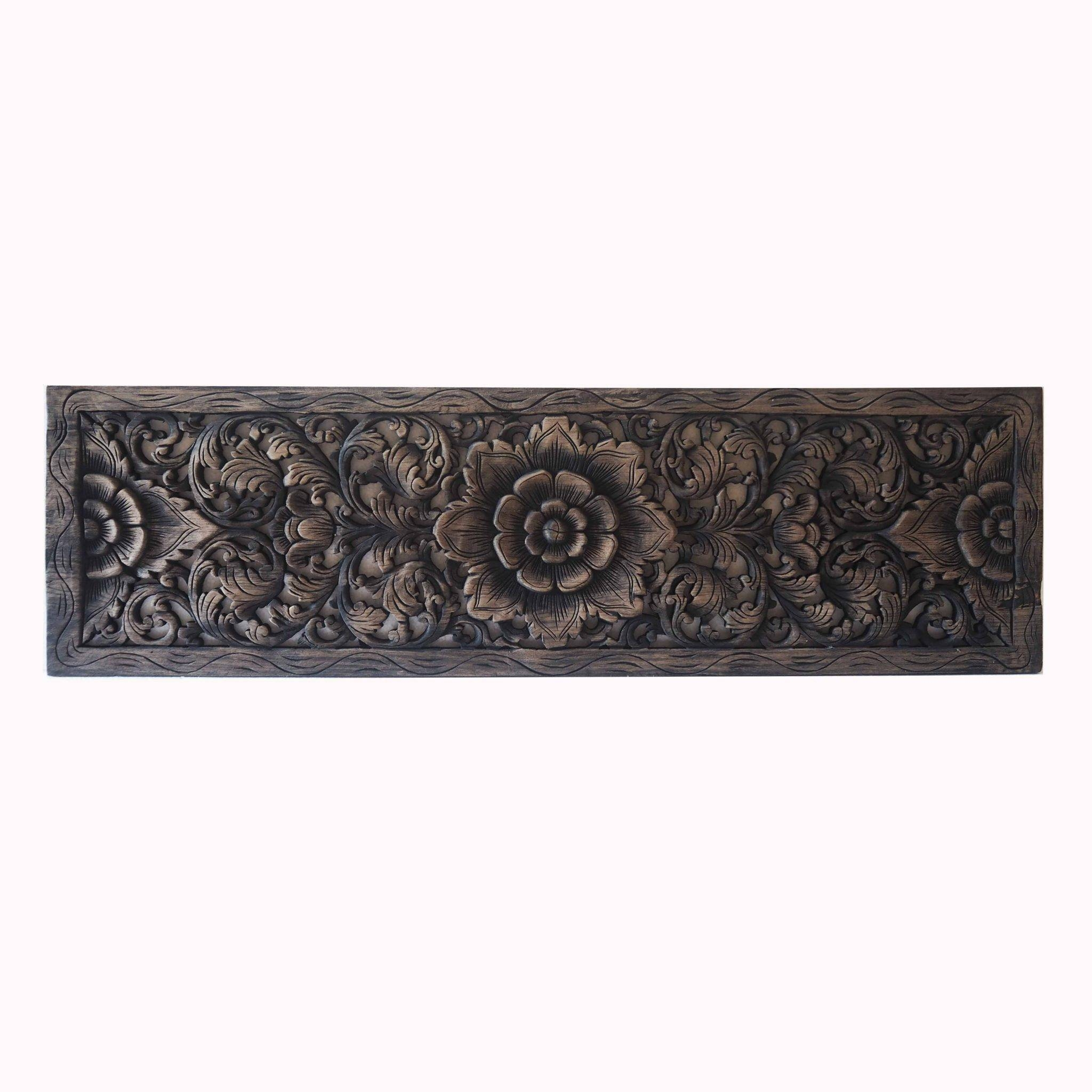 Thai Lotus Wood Carving Wall Art Panel – Siam Sawadee Throughout Recent Asian Wall Art Panels (View 13 of 20)