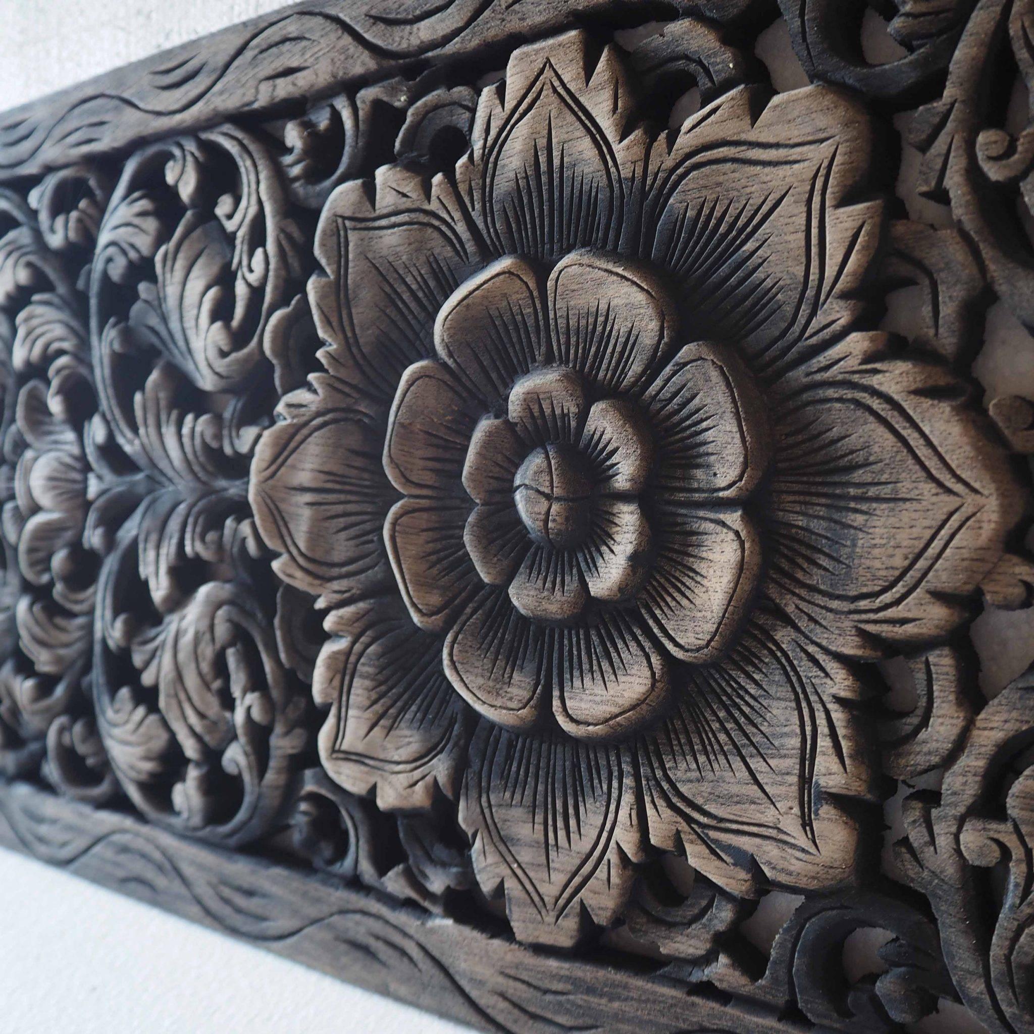 Thai Lotus Wood Carving Wall Art Panel – Siam Sawadee Within Newest Wood Carved Wall Art Panels (View 20 of 25)