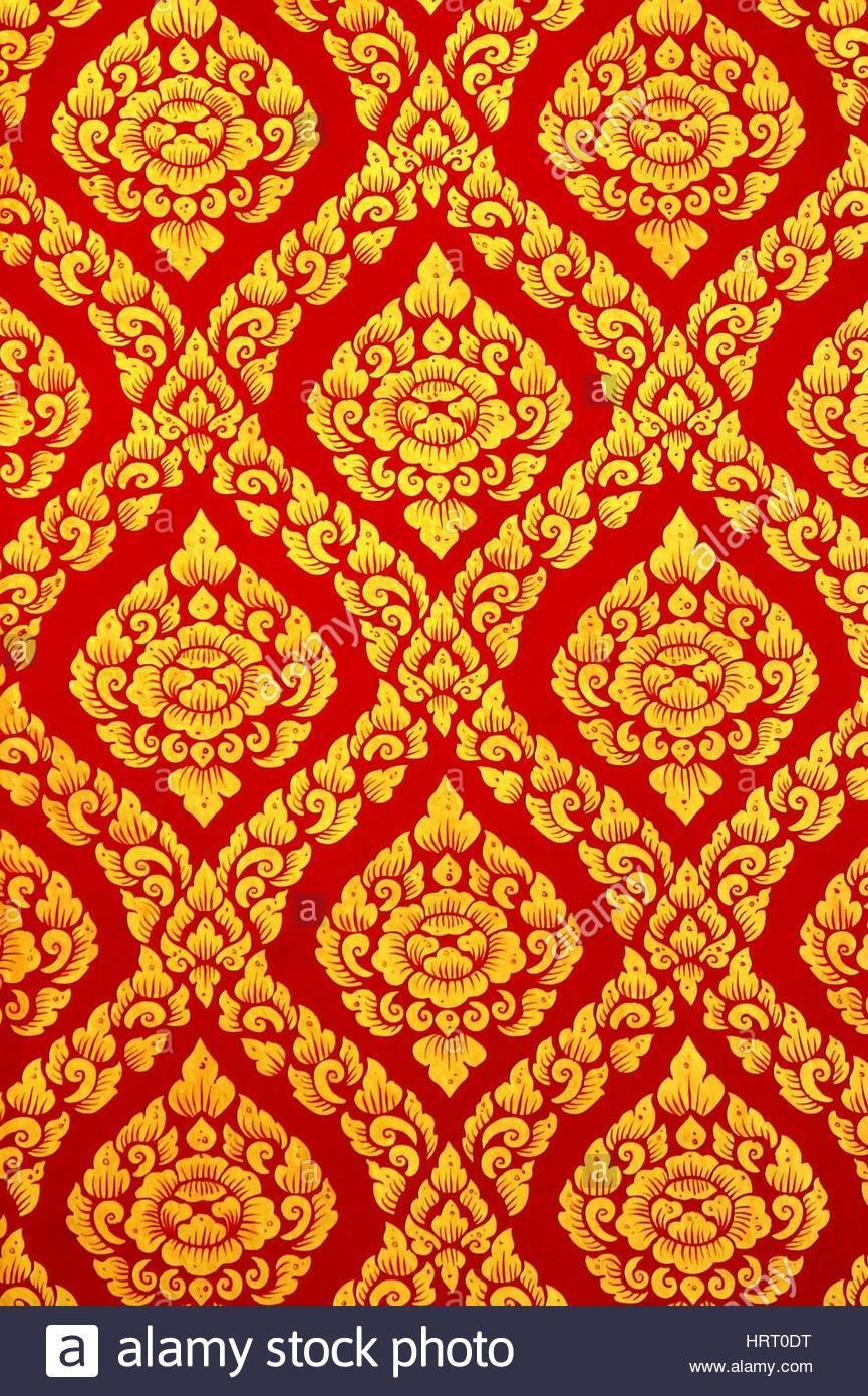 Thai Pattern Wall Art Painting In The Temple, Thailand Stock Photo Intended For Most Popular Pattern Wall Art (View 17 of 20)