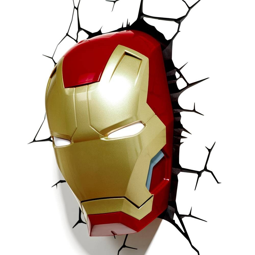 The Avengers 3d Wall Art Light – Iron Man Mask | This Stuff Online Pertaining To Latest Iron Man 3d Wall Art (View 3 of 20)