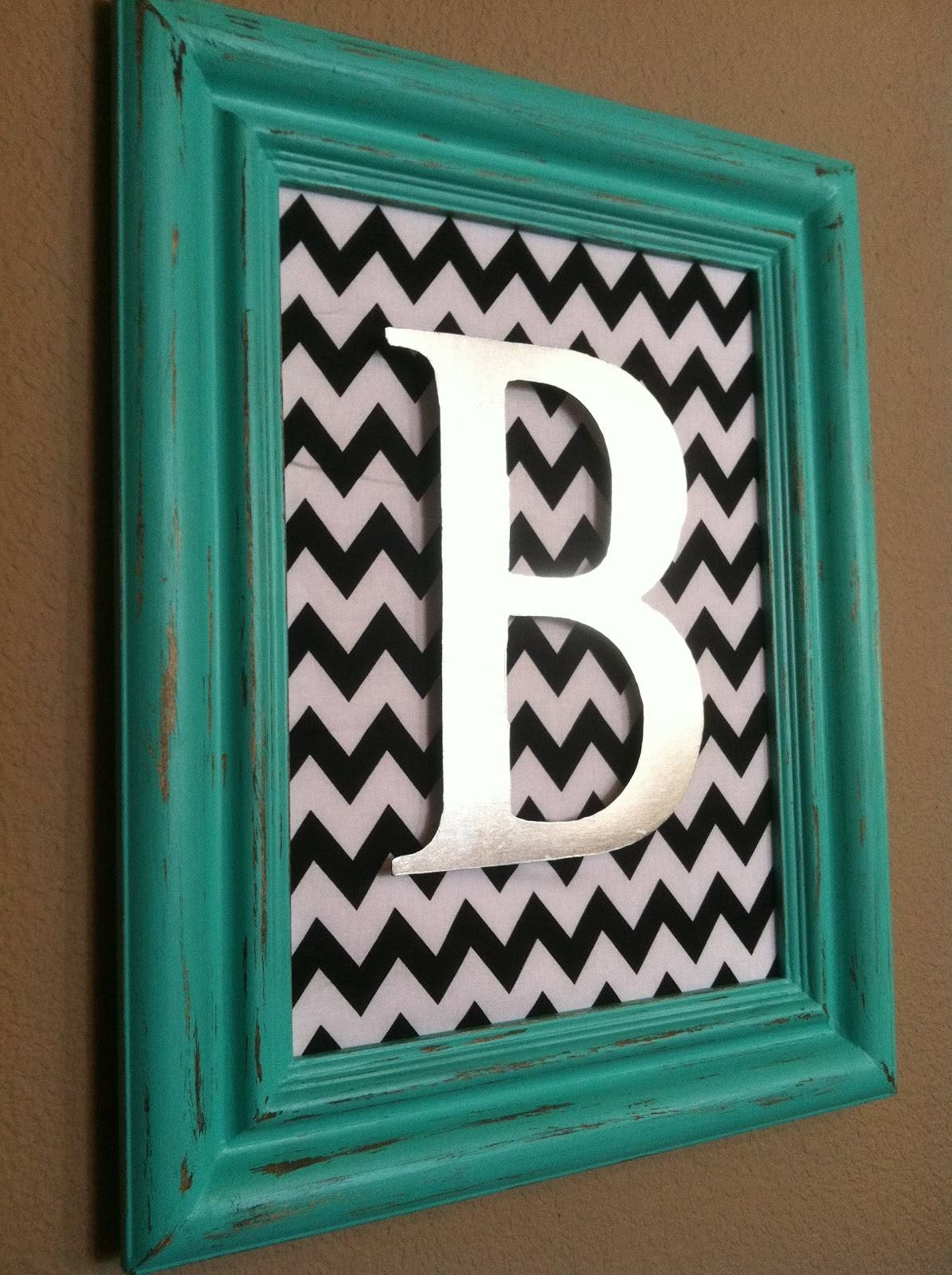 The Baeza Blog: Aqua Distressed Monogram Frame {Vaseline Method} With Current Framed Monogram Wall Art (View 9 of 20)