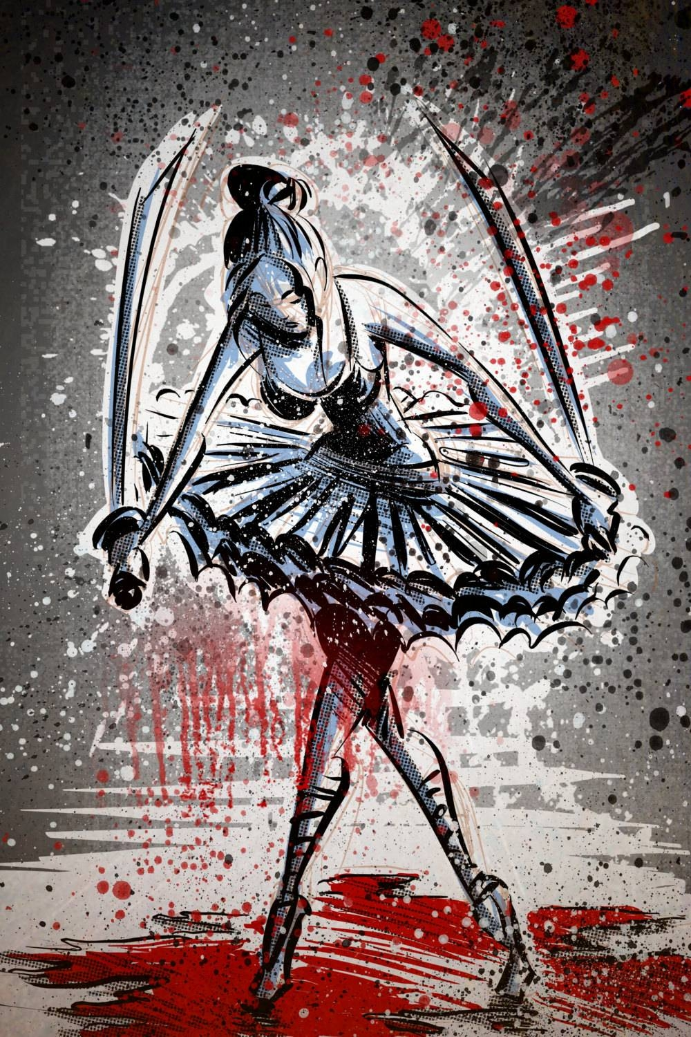 The Blood Splattered Ballerina Art Print Ninja Samurai Within 2017 Samurai Wall Art (View 15 of 20)