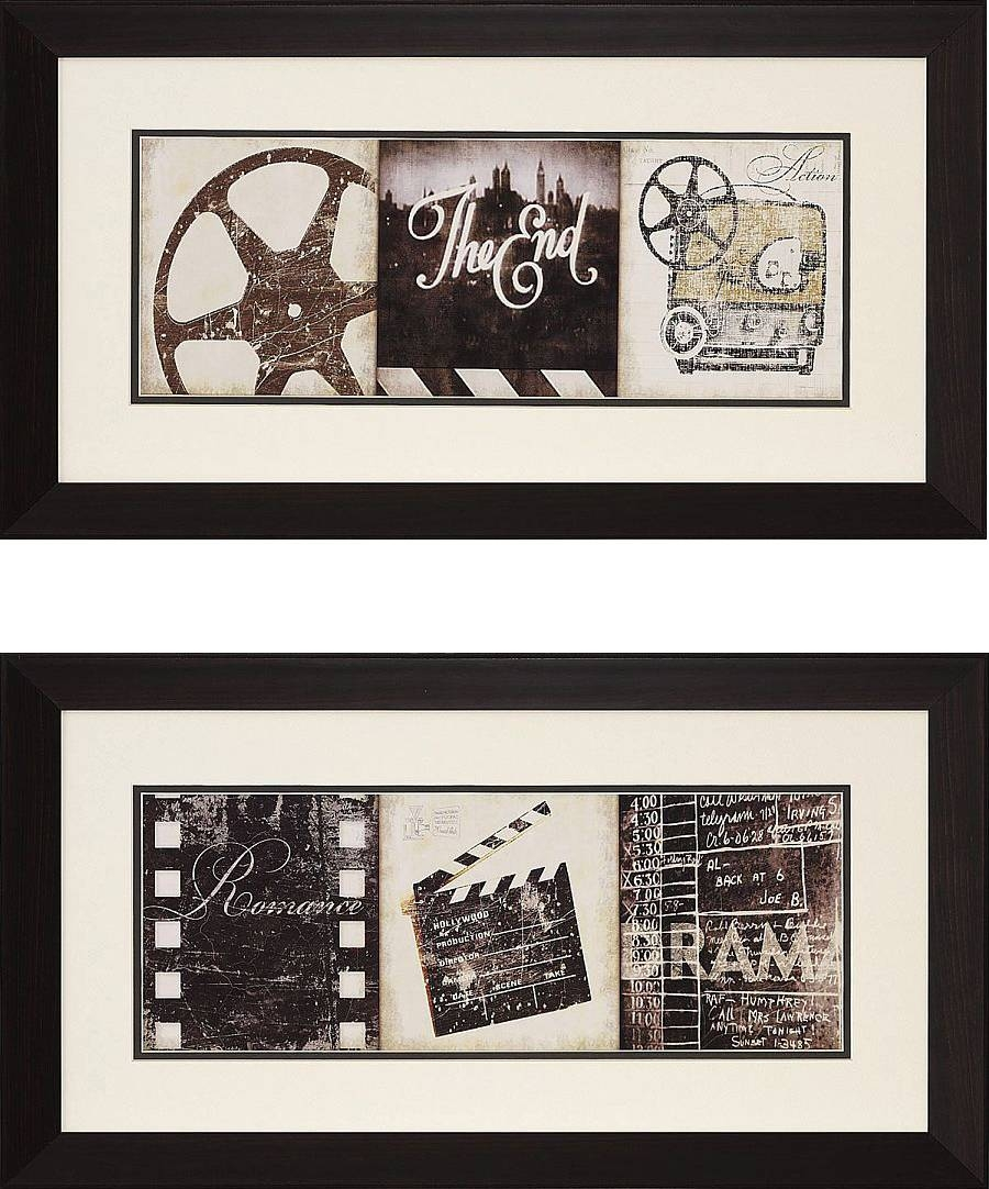 "The Drama"" And Film Clapboard Framed Theater Wall Art Pair Inside Most Up To Date Film Reel Wall Art (View 20 of 30)"