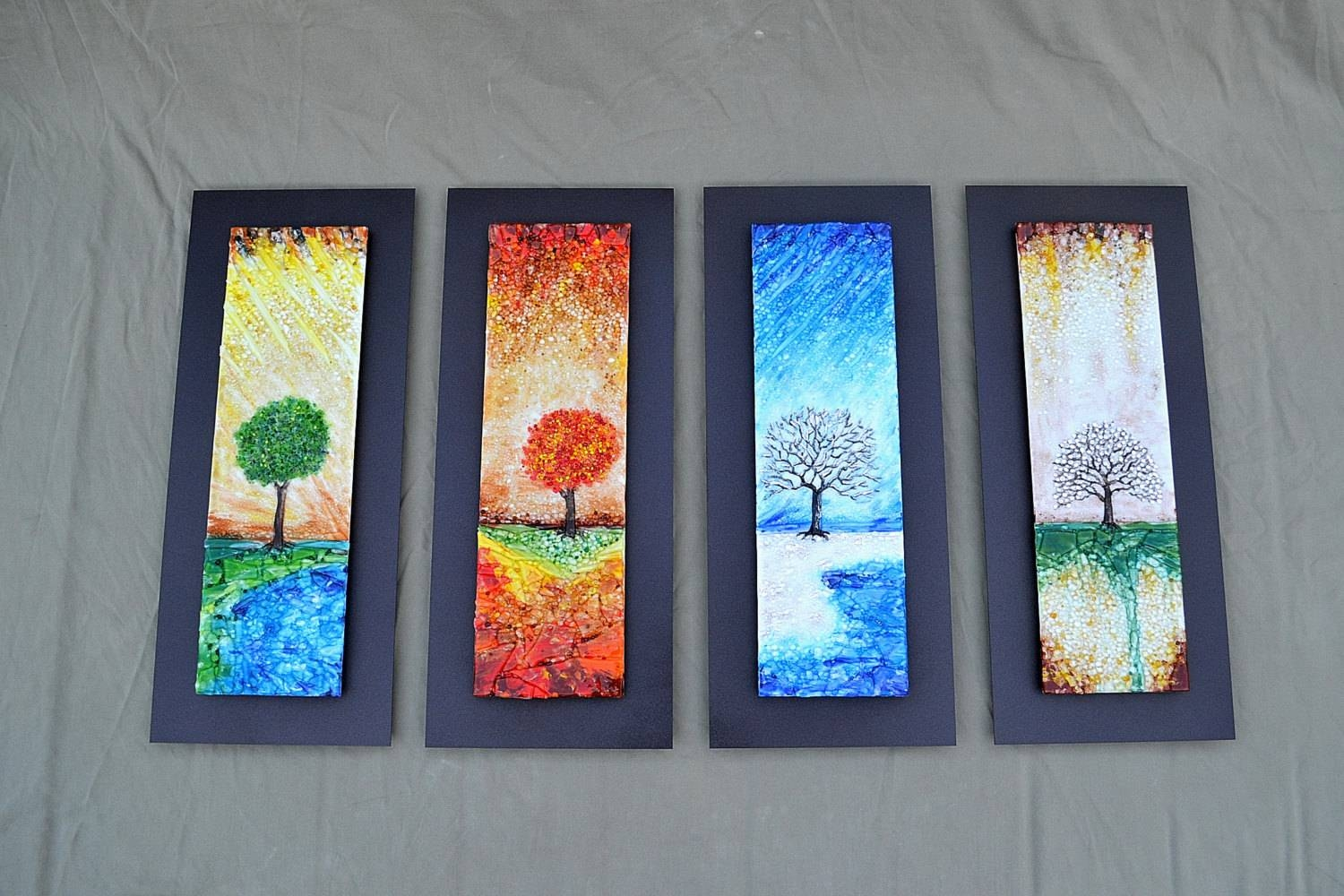 The Four Seasons Fused Glass Wall Art With Textured Relief With Most Popular Fused Glass Wall Art (View 6 of 25)