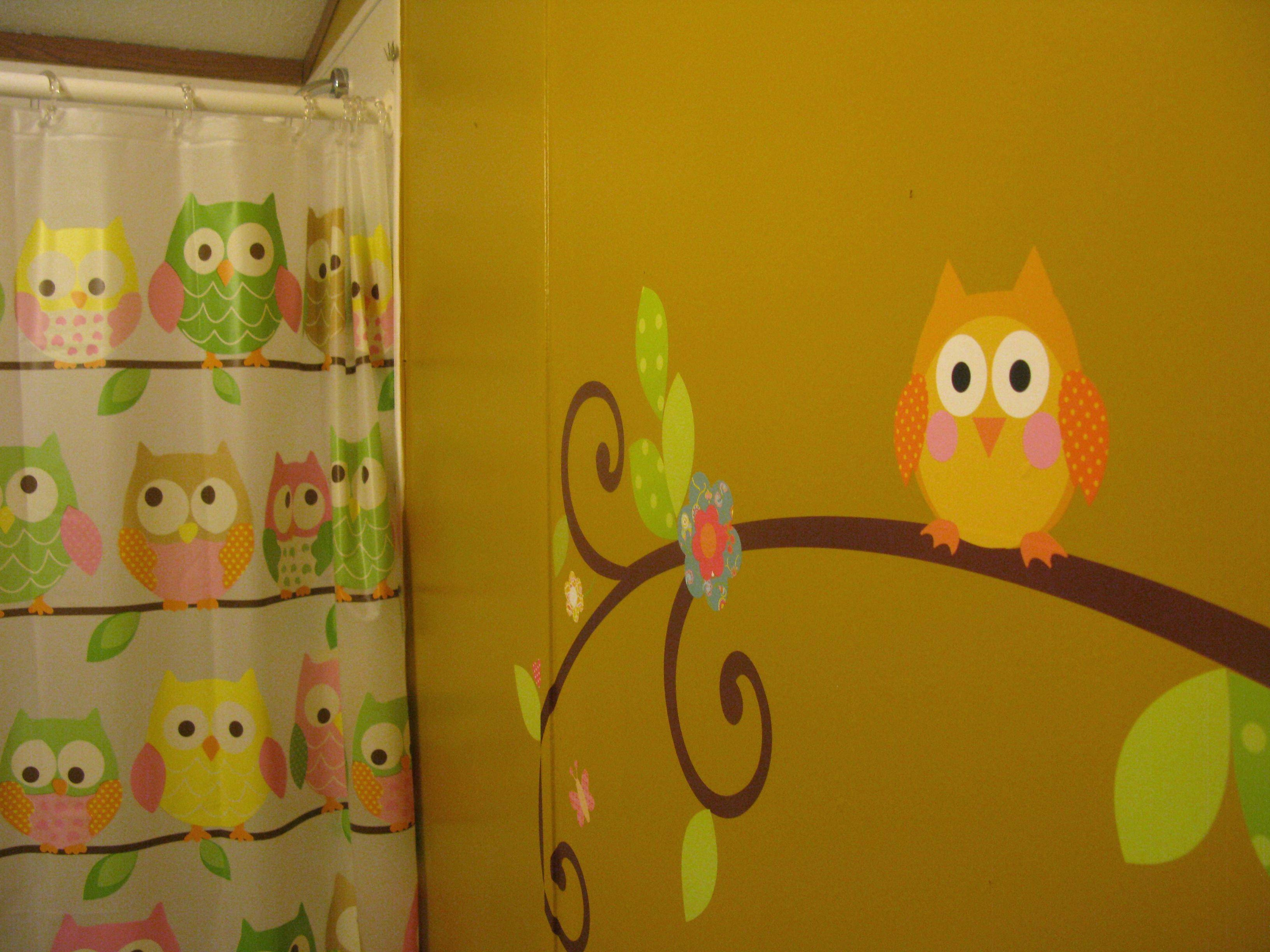 The Girls Bathroom We Painted A Mustard Yellow Wall With Owl Wall Regarding 2018 Kohls Wall Decals (View 12 of 25)
