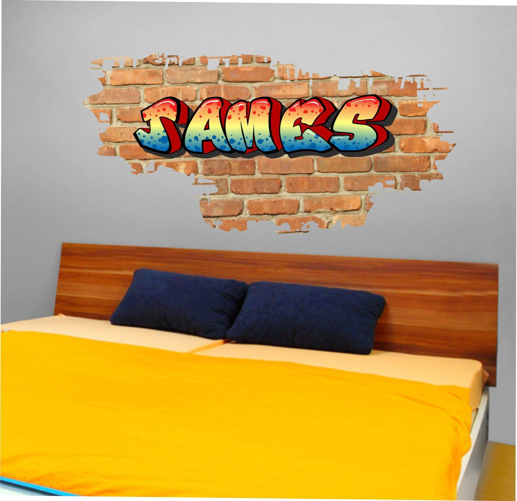 The Grafix Studio | 01 Personalised Graffiti Brick & Name Wall Sticker Inside 2018 Graffiti Wall Art Stickers (View 21 of 30)