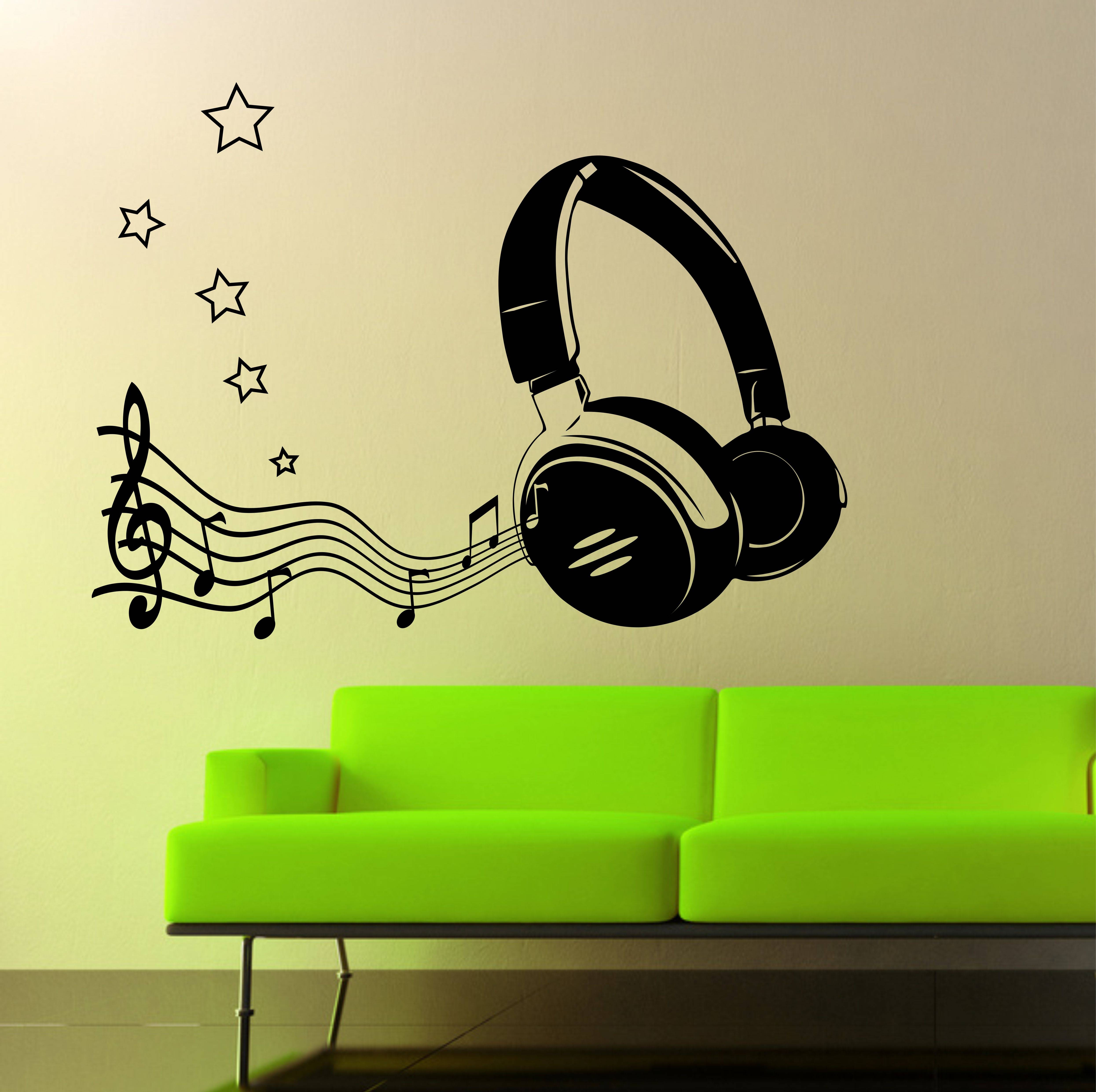 The Grafix Studio | 07 Headphone & Music Notes Wall Art Sticker Within Newest Music Note Wall Art (View 2 of 20)