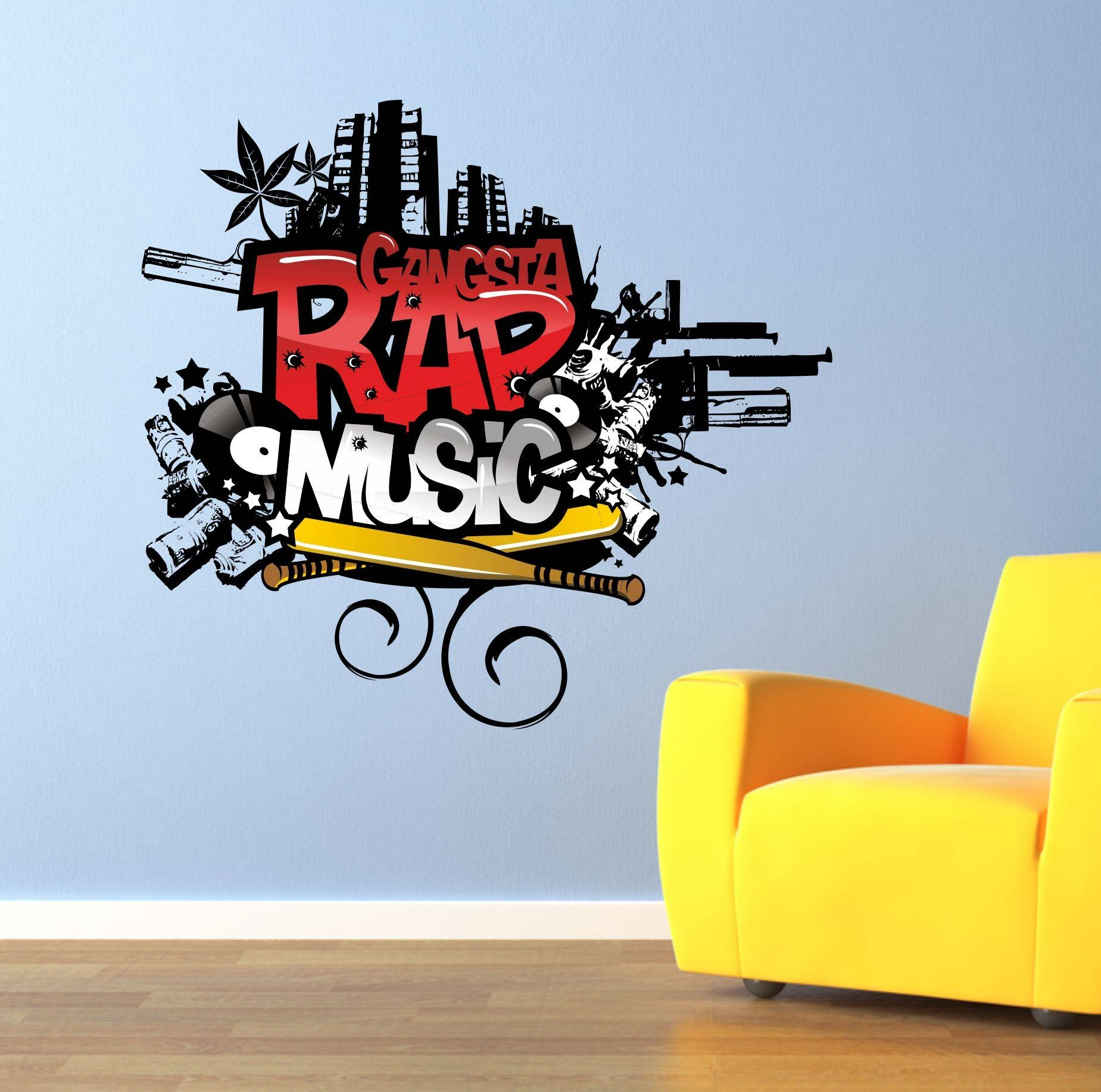 The Grafix Studio | Gangsta Rap Music Graffiti Wall Art Sticker Pertaining To 2018 Graffiti Wall Art Stickers (View 23 of 30)