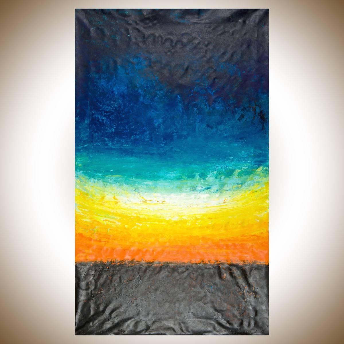 """The Horizonqiqigallery 60""""x36"""" Un Stretched Canvas Original Pertaining To 2018 Yellow And Blue Wall Art (View 16 of 20)"""