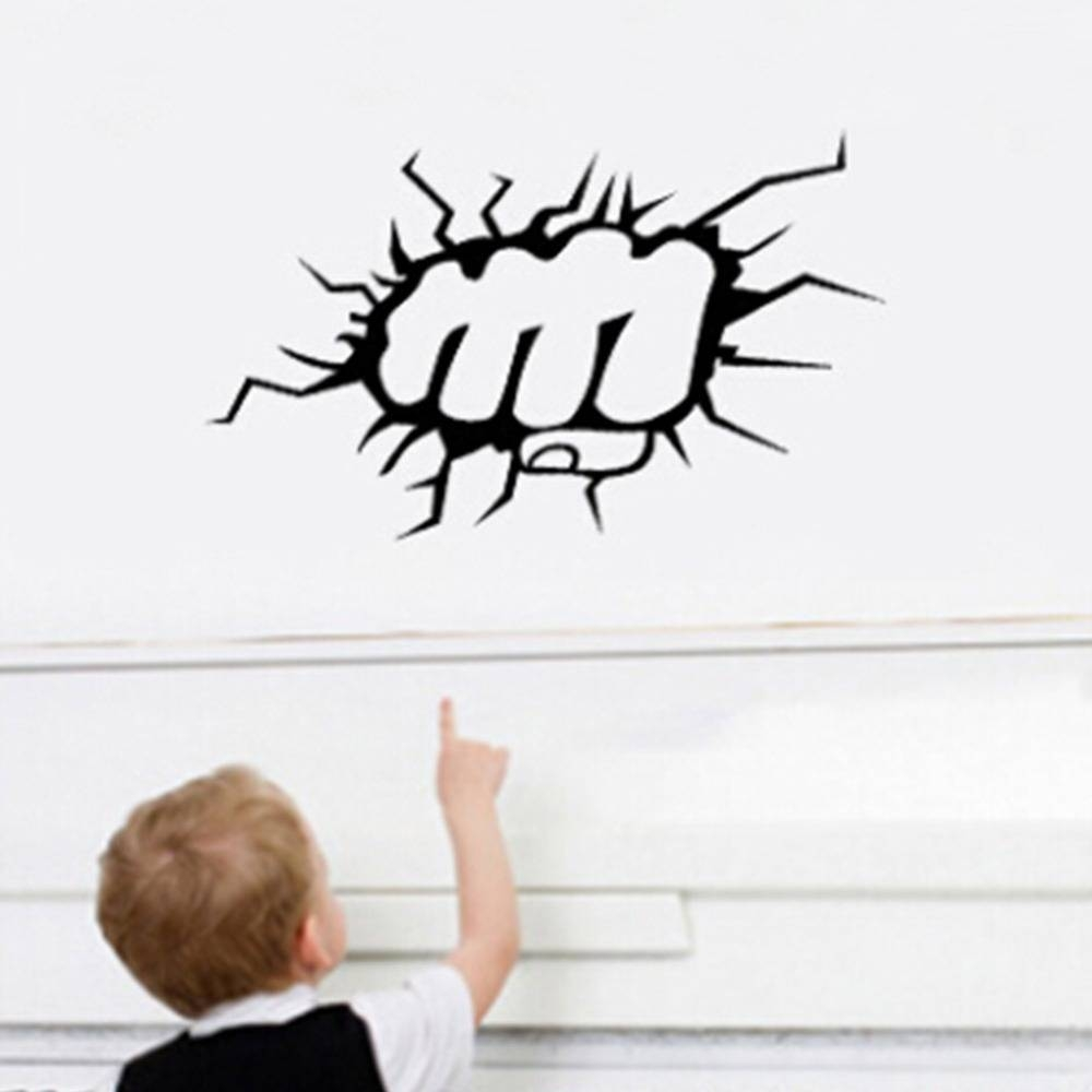 The Incredible Hulk Fist Punch Boys Wall Art Stickers Decal Diy In Most Recently Released Hulk Hand 3D Wall Art (View 18 of 20)
