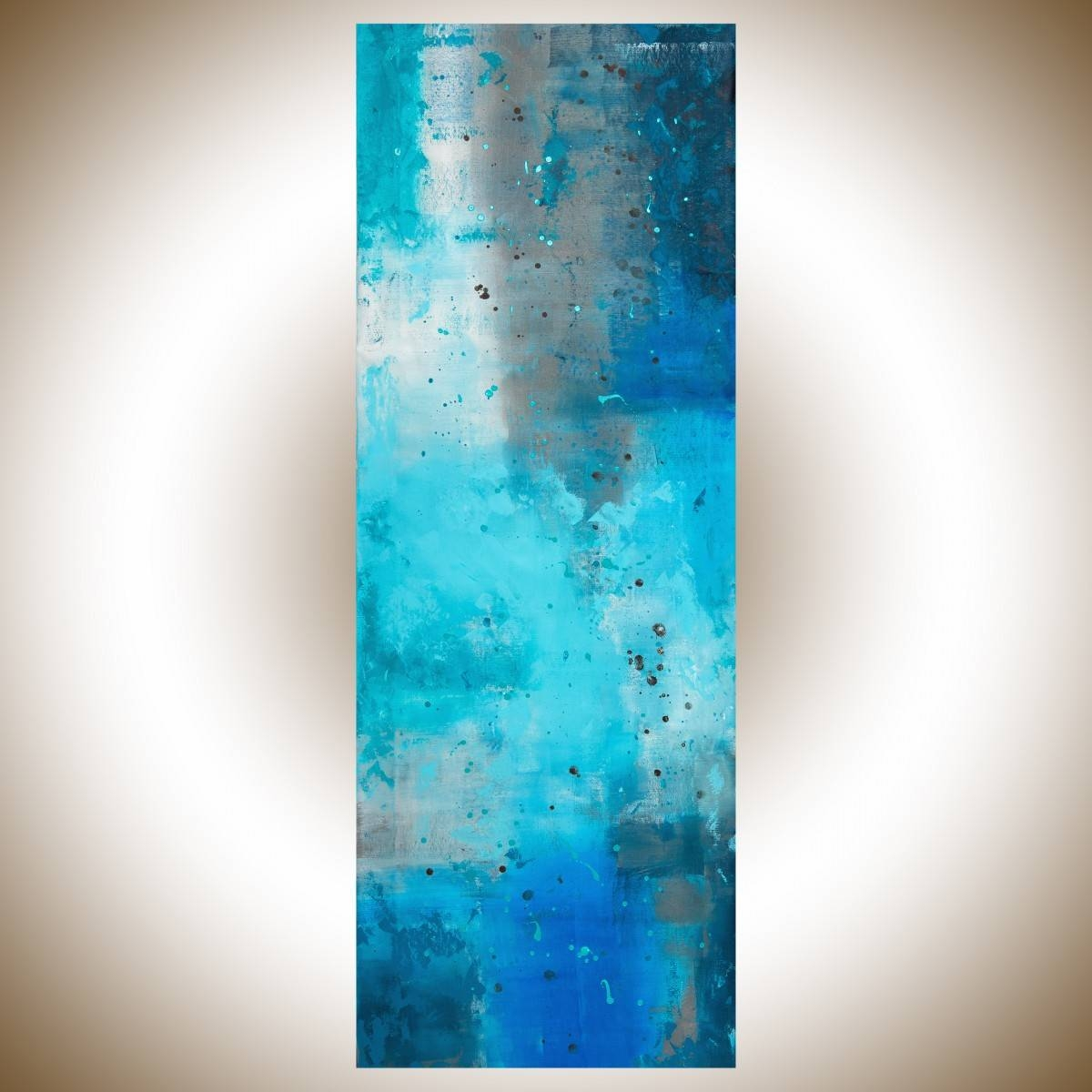 "The Mistqiqigallery 70""x24"" Un Stretched Canvas Original Within Most Recent Turquoise And Brown Wall Art (View 22 of 25)"