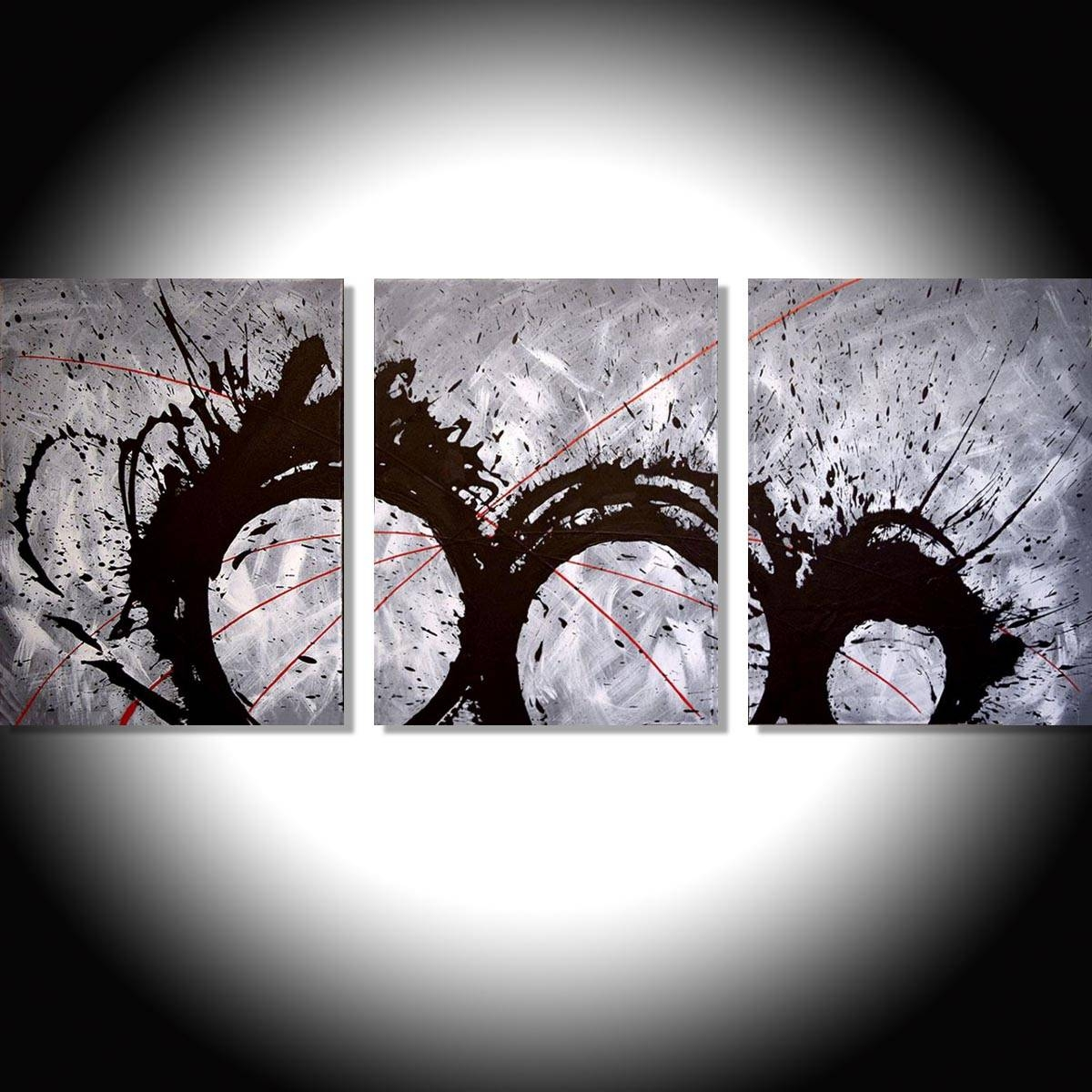 """The Original Triptych Paintings For Sale """"grey Matter"""" Modern Art For Best And Newest Triptych Art For Sale (View 2 of 20)"""