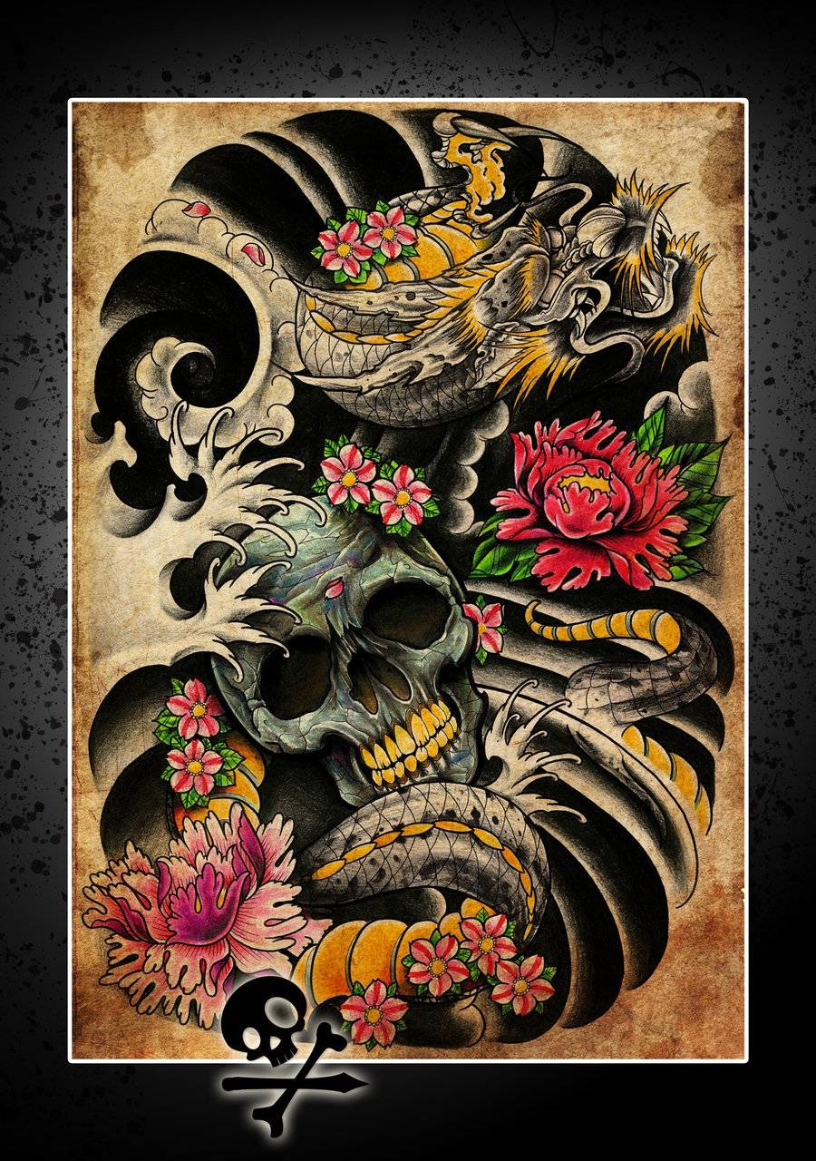 The Skeleton Creative Classic Tattoo Wall Mural Poster Decorative in Most Popular Tattoo Wall Art