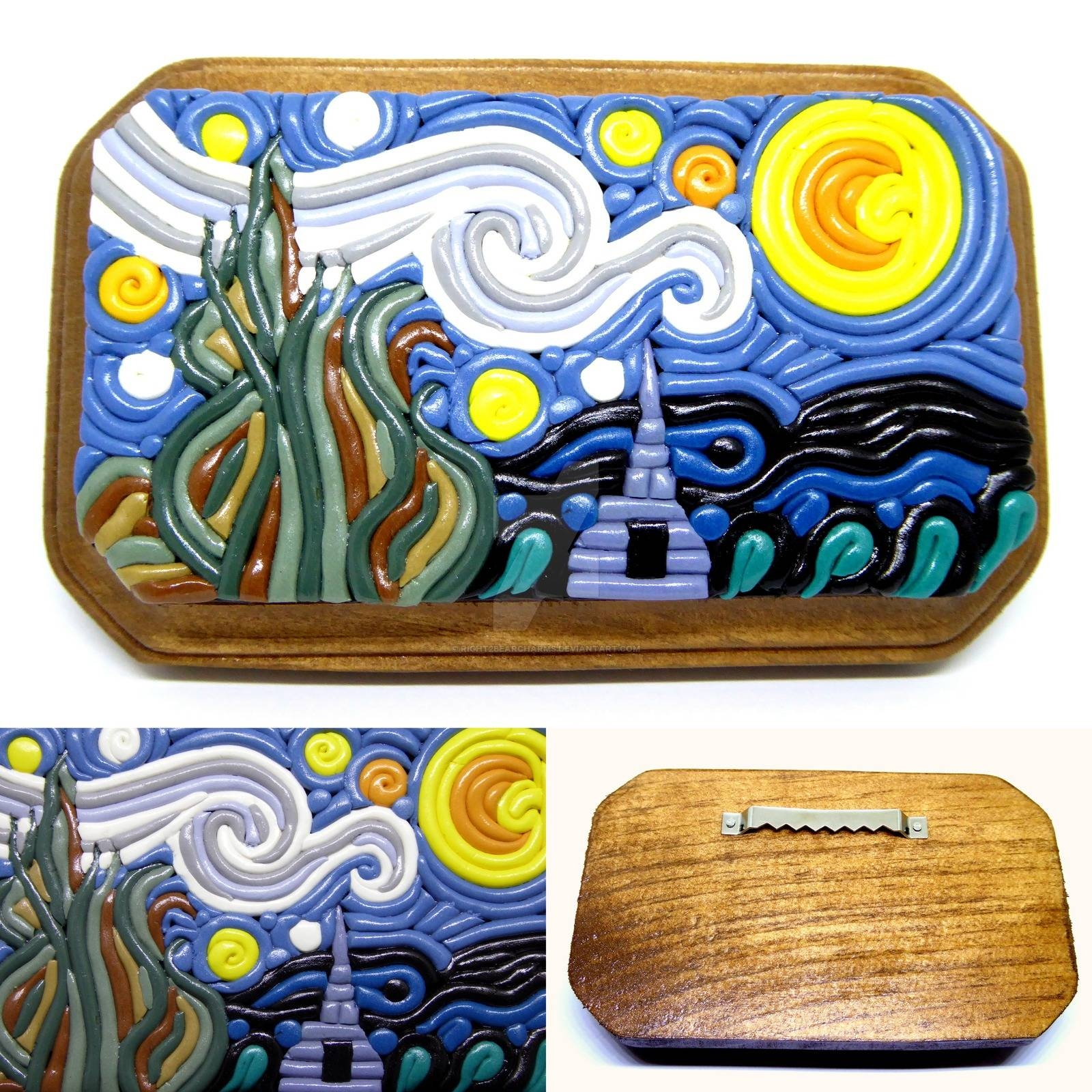 The Starry Night' Polymer Clay Wall Artright2Bearcharms On Within Current Polymer Clay Wall Art (View 19 of 20)