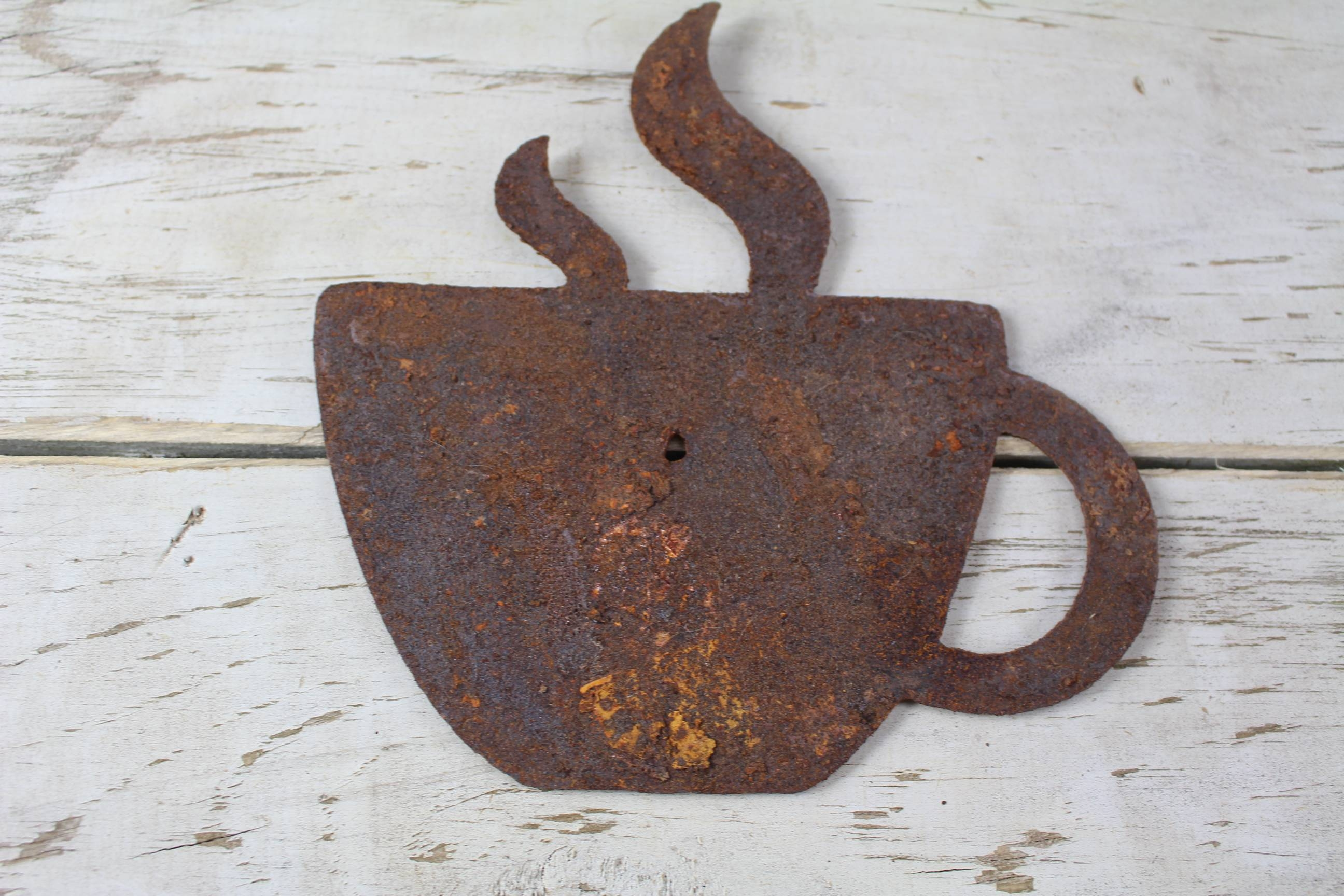 Thick Rusty Metal Coffee Cup – Rustic Metal Letters & Wall Art Pertaining To Most Current Metal Coffee Cup Wall Art (View 3 of 20)