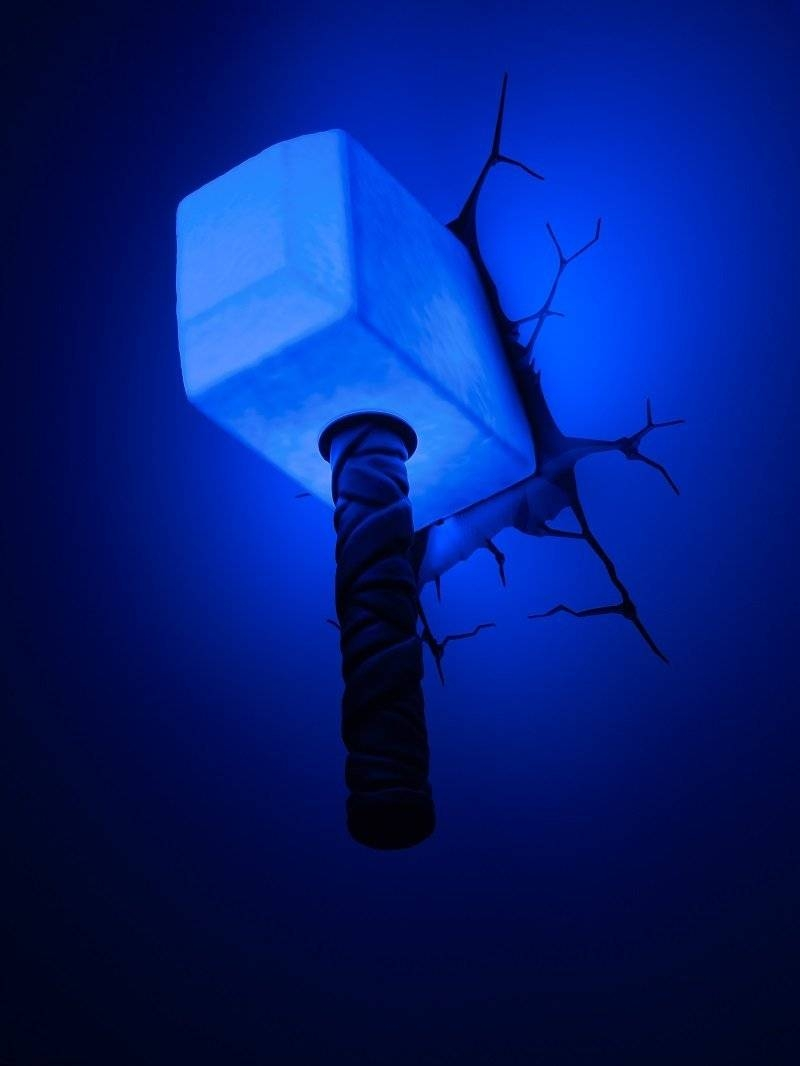 Thor Hammer 3d Wall Art Decor Night Light Lamp Uk | Wallartideas Within Most Recent Thor Hammer 3d Wall Art (View 3 of 20)