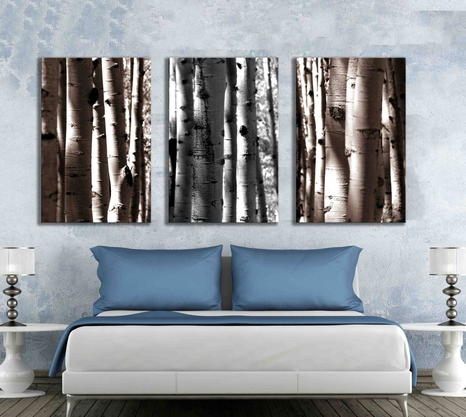 Three Separate Canvas Art Gallery Wrapped Nature Aspen Tree Inside Best And Newest Aspen Tree Wall Art (View 17 of 20)
