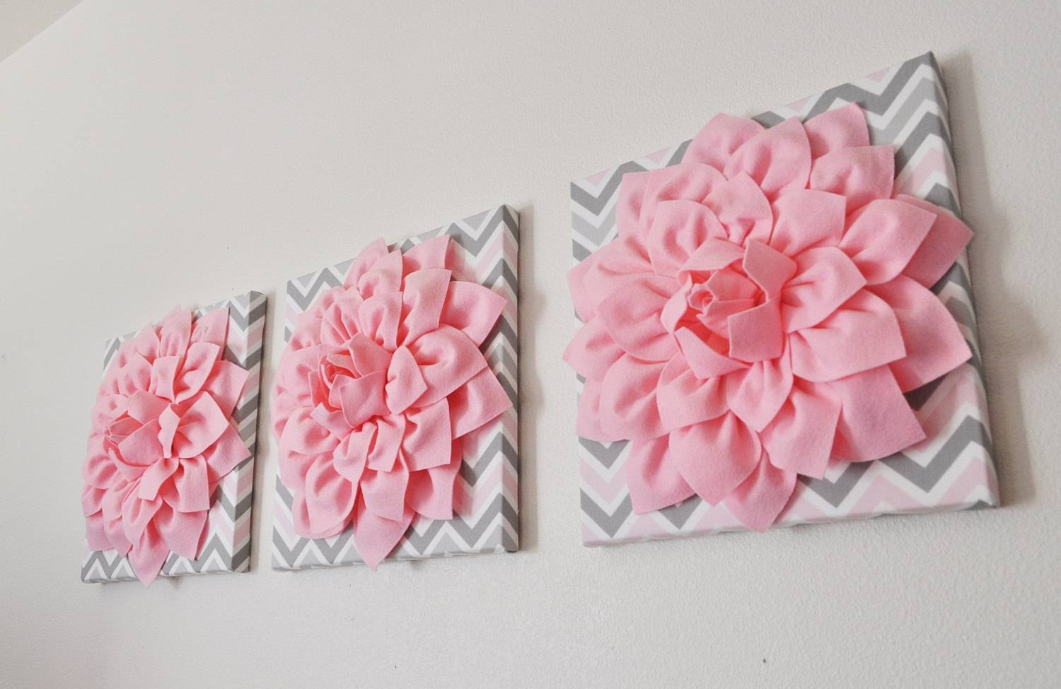 Three Wall Flower Decor Light Pink Dahlia On Pink And Gray With Regard To Most Recently Released Pink And Grey Wall Art (View 15 of 20)