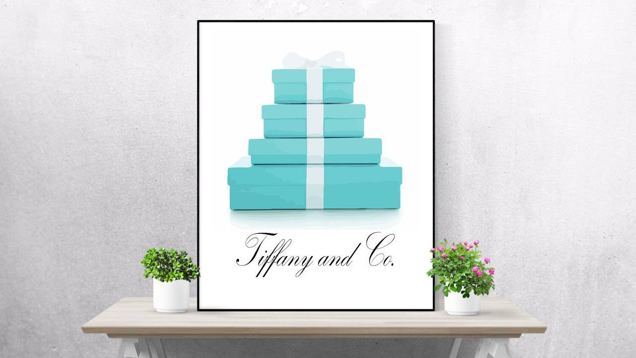 Tiffany And Co Print Watercolor Set Of 2 Tiffany Wall Art Pertaining To Most Popular Tiffany And Co Wall Art (View 13 of 30)