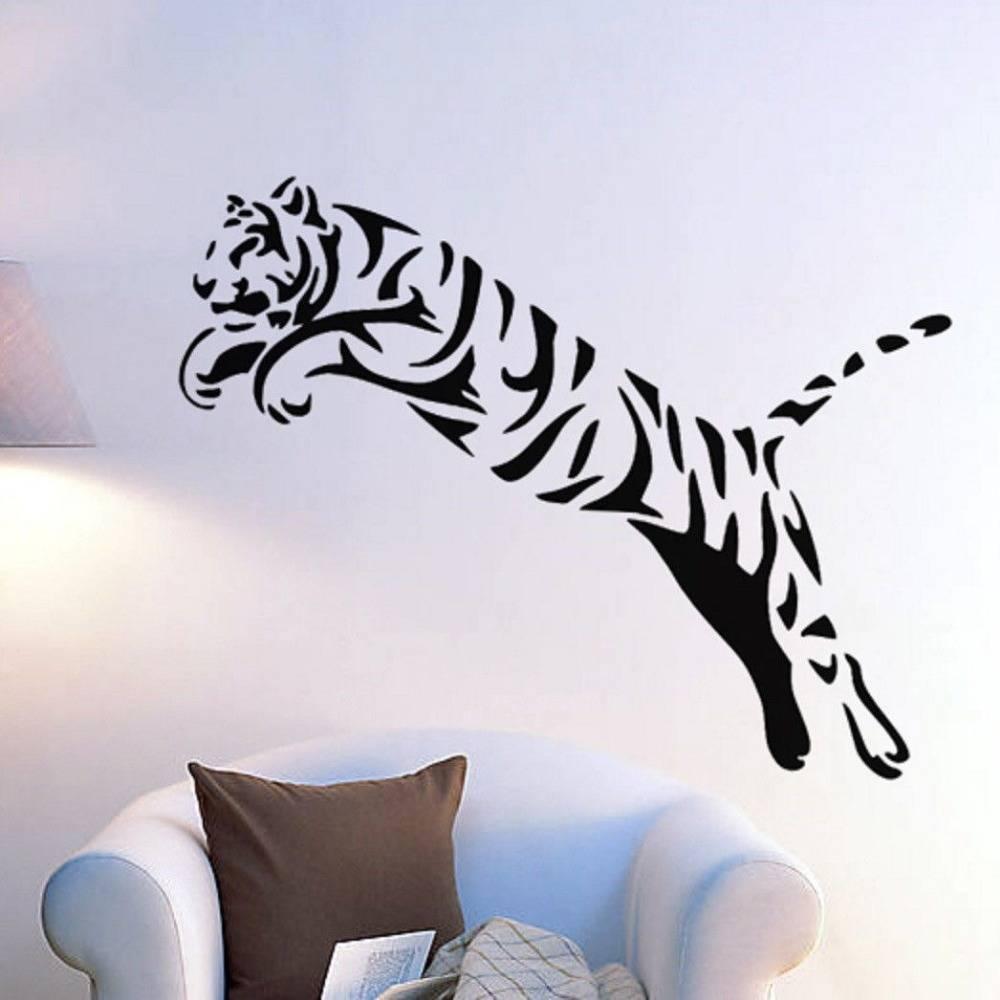 Tiger Wall Sticker Wild Cheetah Cat African Animal Tiger Wall Art In 2017 Animal Wall Art (View 3 of 25)