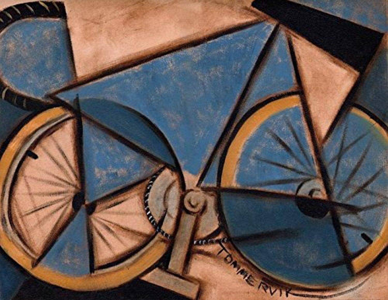 Tommervik Blue Abstract Ten Speed Bike Abstract Art Bicycle Wall Inside Current Cycling Wall Art (View 21 of 25)