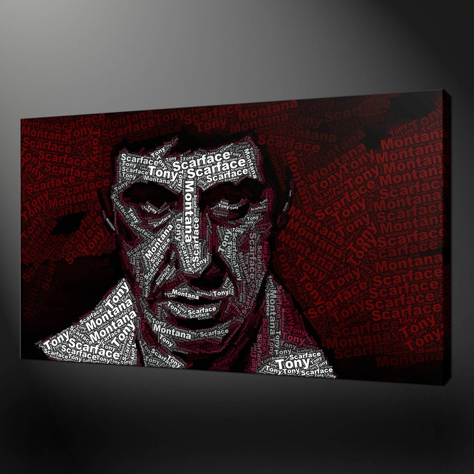 Tony Montana Scarface Typography Canvas Wall Art Print Picture For Most Up To Date Typography Canvas Wall Art (View 15 of 20)