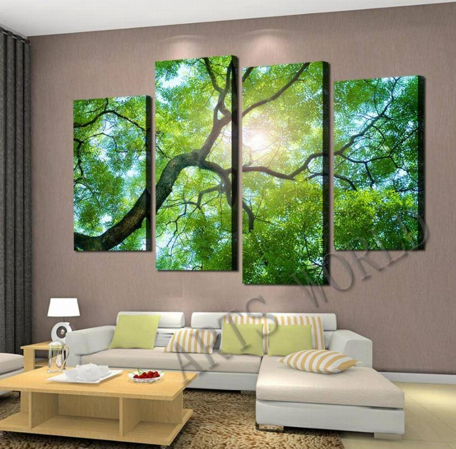 Top Rated 4 Panels Green Tree Oil Painting On The Wall Art Canvas Intended For Most Recently Released Green Canvas Wall Art (View 9 of 20)