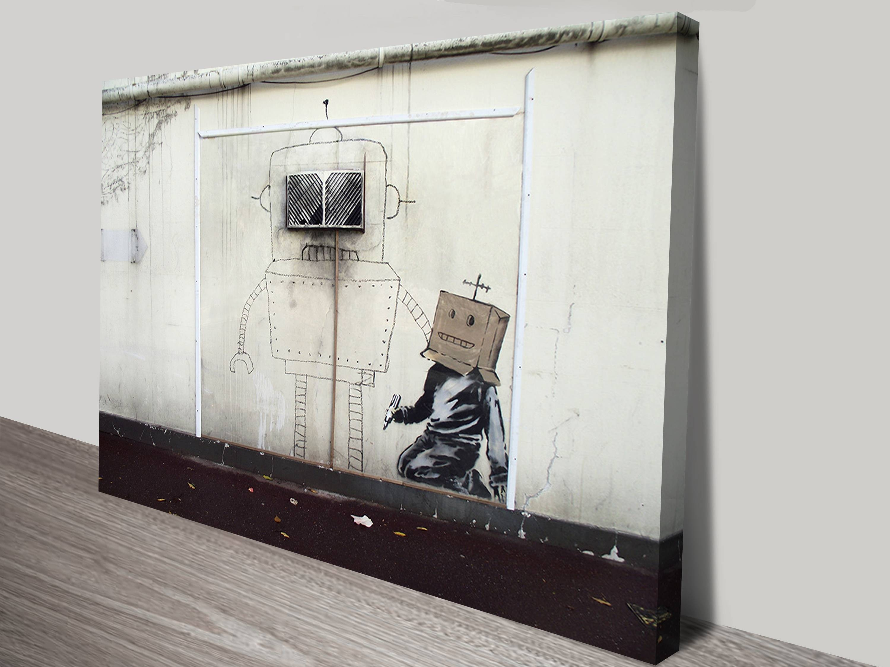 Torquay Robot Canvas Wall Art With Regard To 2018 Banksy Wall Art Canvas (View 12 of 20)