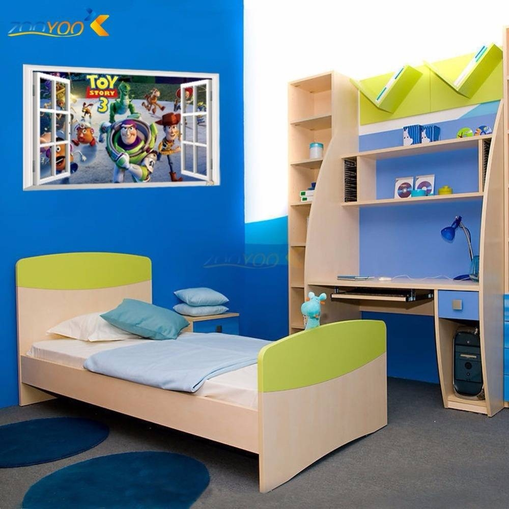 Toy Story Cartoon Window Wall Stickers For Kids Rooms Zooyoo1403 pertaining to Most Recent Toy Story Wall Stickers
