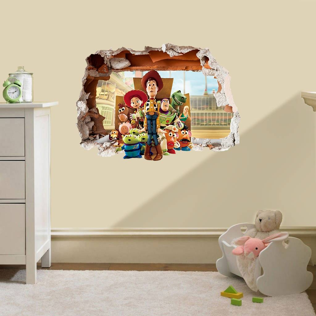Toy Story Hole In The Wall Sticker 3D Bedroom Boys Girls Vinyl Pertaining To Most Up To Date Toy Story Wall Stickers (View 19 of 25)