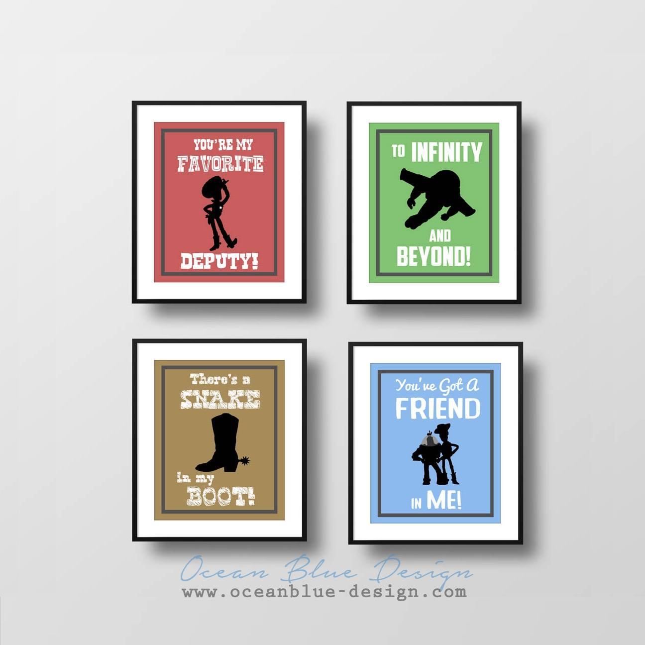 Toy Story Prints – Set Of 4 – 8?x10? Prints  Child's Room Or For Most Up To Date Toy Story Wall Art (View 26 of 30)