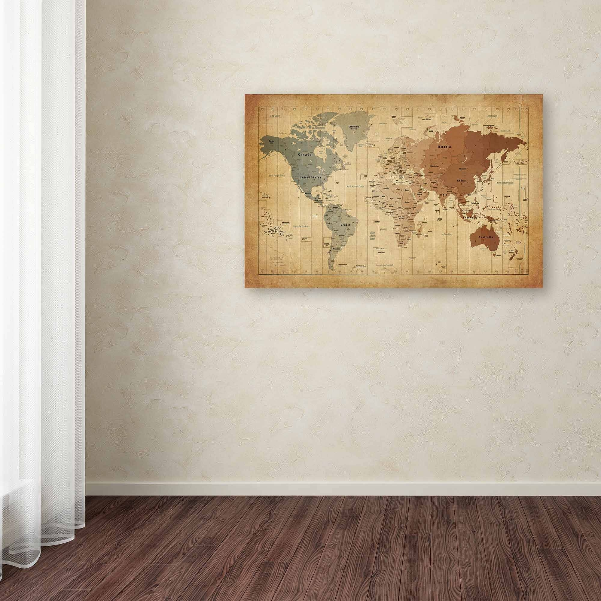 "Trademark Art ""world Map – Navy"" Canvas Wall Artmichael With Regard To Recent World Wall Art (View 13 of 20)"