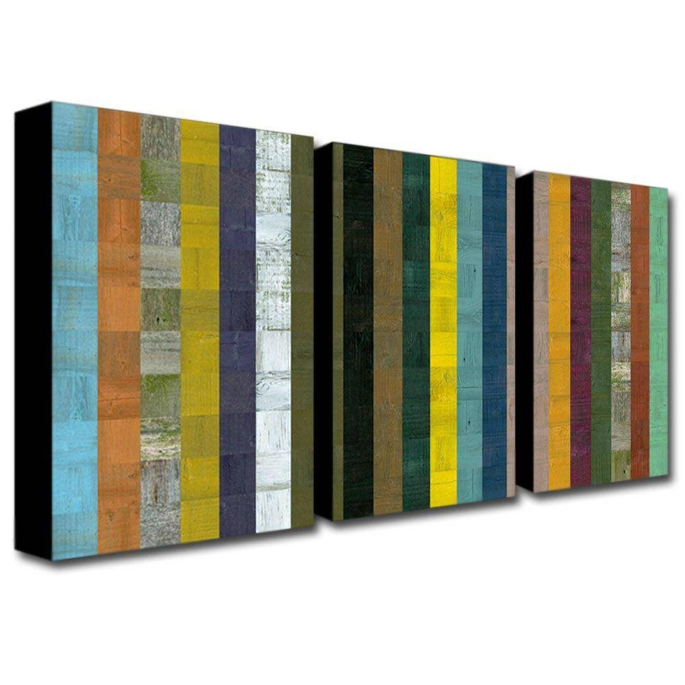 Trademark Fine Art Wooden Abstract Viimichelle Calkins 3 Panel Throughout Most Current Three Panel Wall Art (View 18 of 20)