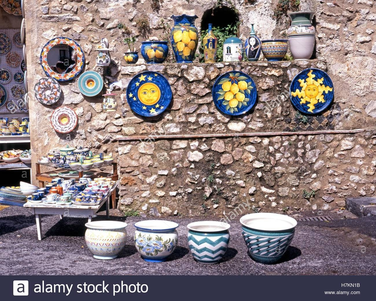 Traditional Italian Pottery Displayed Outside A Gift Shop In The For Best And Newest Italian Ceramic Wall Art (View 24 of 30)