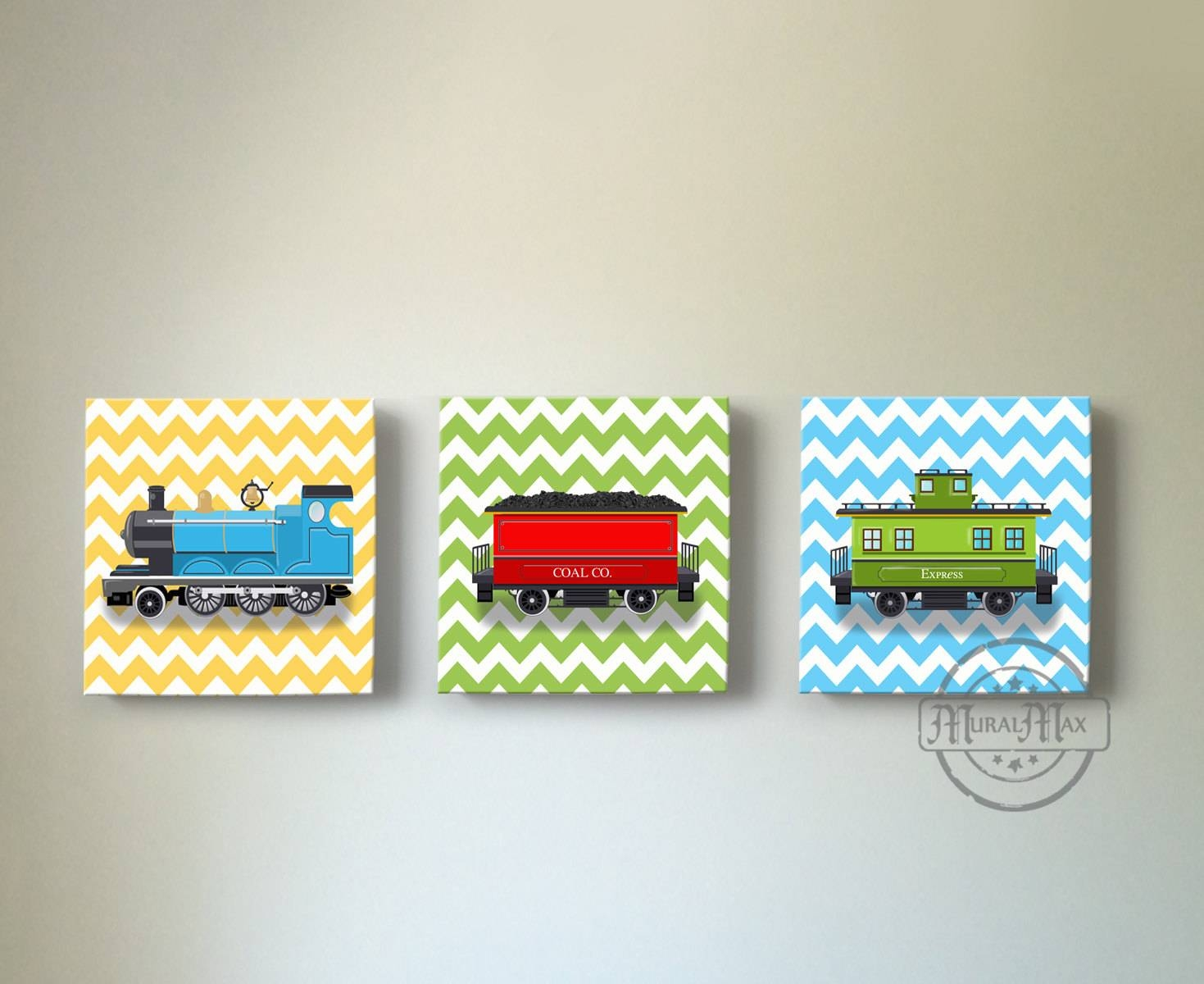 Train Boy Room Nursery Art Decor Locomotive Choo Choo Train Inside 2018 Nursery Canvas Art (View 19 of 20)