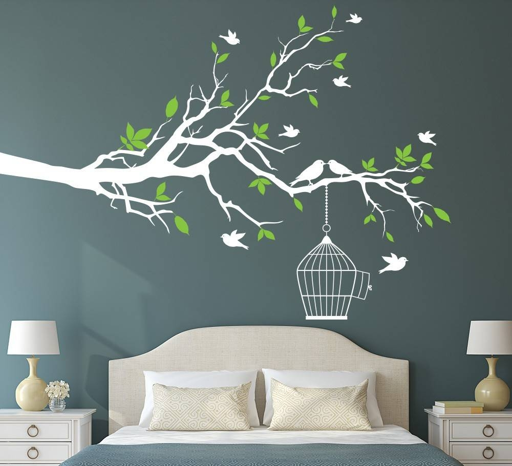 Tree Branch With Bird Cage Wall Art Sticker Vinyl Wall Decals Wall Intended For Most Current Tree Branch Wall Art (Gallery 6 of 20)