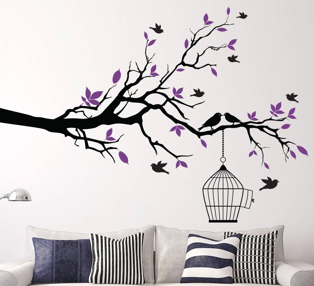 Tree Branch With Bird Cage Wall Sticker For Living Area Pertaining To Recent Tree Branch Wall Art (View 17 of 20)