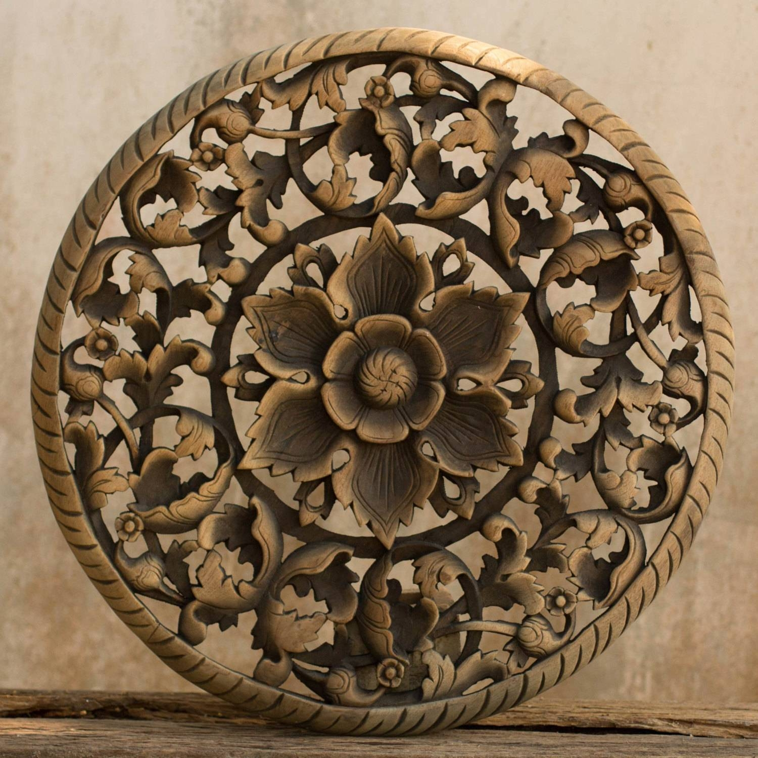 Tree Dimensional Floral Wooden Wall Hanging – Siam Sawadee Pertaining To Current Wood Carved Wall Art Panels (View 2 of 25)