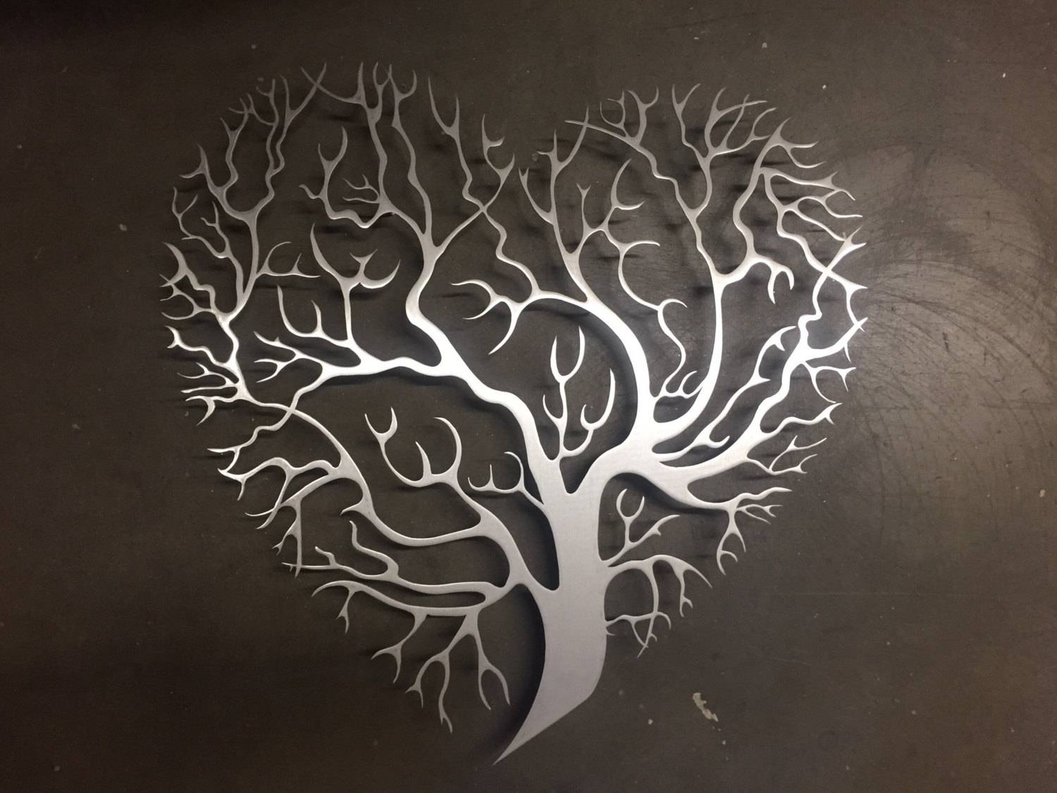Tree Heart Metal Wall Art Tree Metal Wall Art Unique Wall Throughout Best And Newest Metallic Wall Art (View 20 of 25)