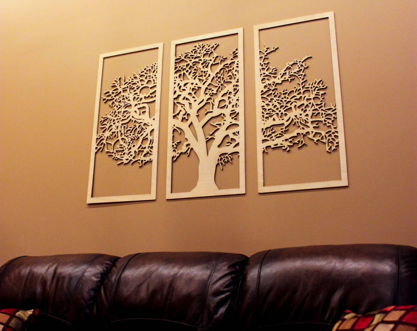 Tree Of Life 3D 3 Panel Tree Wood Wall Art Beautiful Tree For 2017 Wood 3D Wall Art (View 13 of 20)