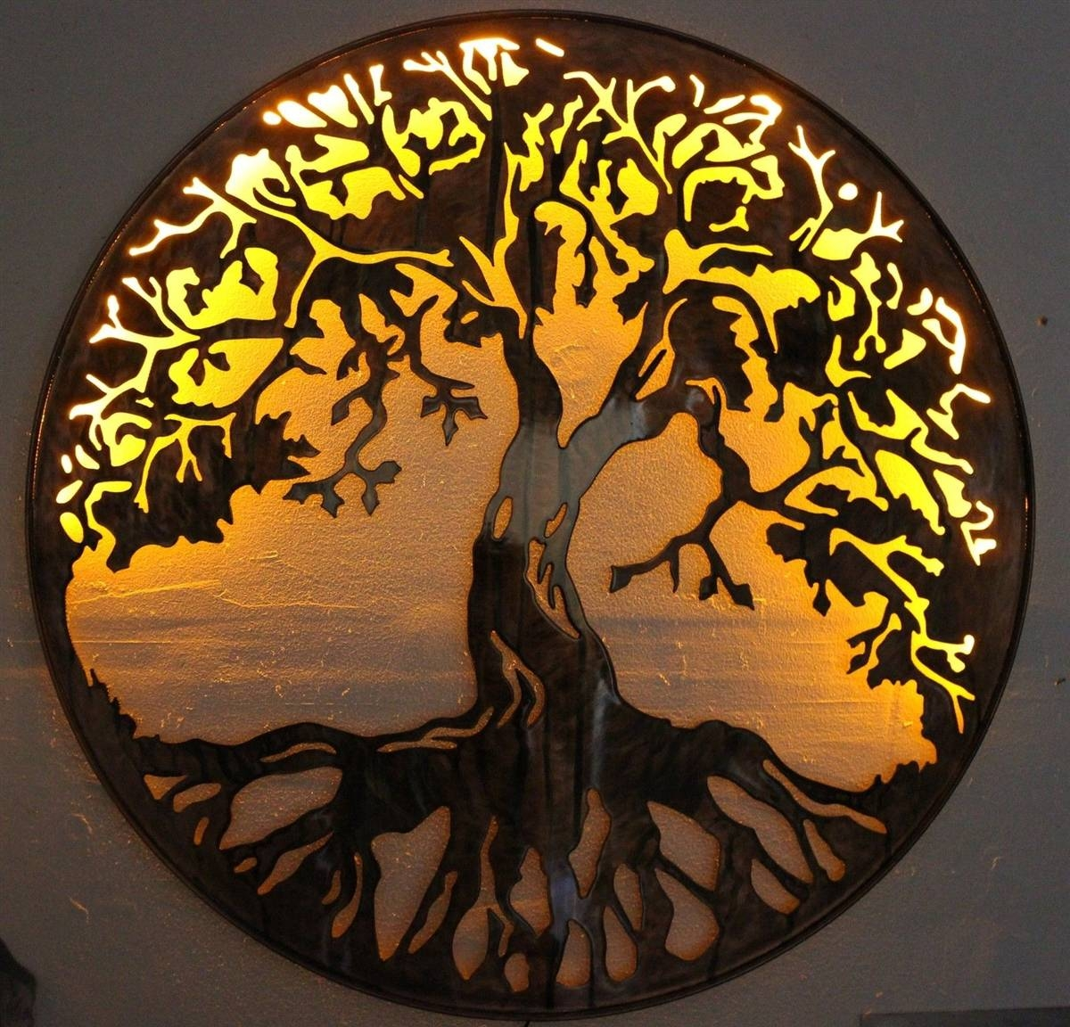 "Tree Of Life Metal Wall Art 24"" With Led Lightshgmw With 2018 Metal Oak Tree Wall Art (View 7 of 30)"