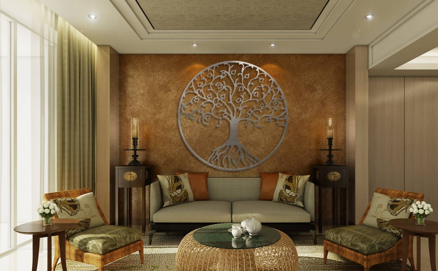 Tree Of Life Metal Wall Art Metal Tree Wall Art Circle Wall Intended For Current 3D Wall Art For Bedrooms (View 19 of 20)