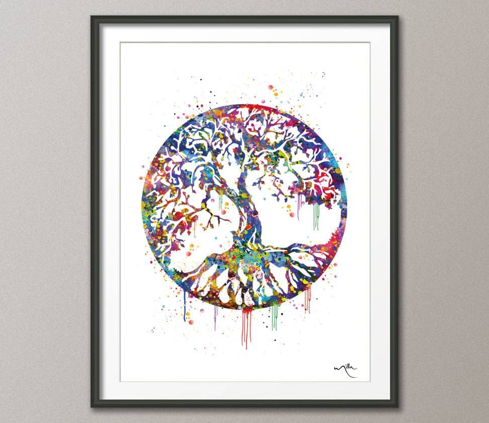 Tree Of Life Watercolor Art Print Wall Art Poster Wedding For Recent Celtic Tree Of Life Wall Art (View 9 of 30)