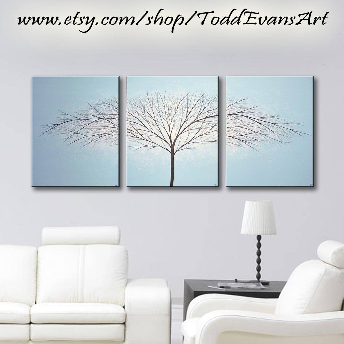 Tree Painting 3 Piece Wall Art Large Canvas Art Painting throughout Most Recently Released 3 Piece Wall Art Sets